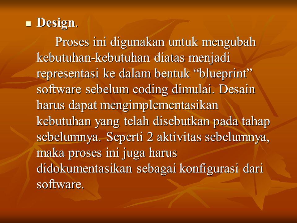 """Design. Design. Proses ini digunakan untuk mengubah kebutuhan-kebutuhan diatas menjadi representasi ke dalam bentuk """"blueprint"""" software sebelum codin"""