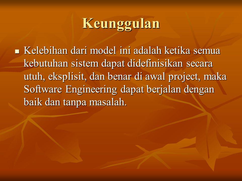 Keunggulan Kelebihan dari model ini adalah ketika semua kebutuhan sistem dapat didefinisikan secara utuh, eksplisit, dan benar di awal project, maka S
