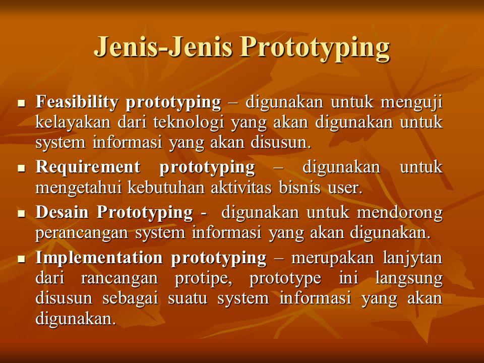 Jenis-Jenis Prototyping Feasibility prototyping – digunakan untuk menguji kelayakan dari teknologi yang akan digunakan untuk system informasi yang akan disusun.
