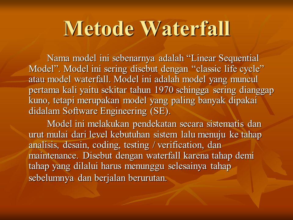 """Metode Waterfall Nama model ini sebenarnya adalah """"Linear Sequential Model"""". Model ini sering disebut dengan """"classic life cycle"""" atau model waterfall"""
