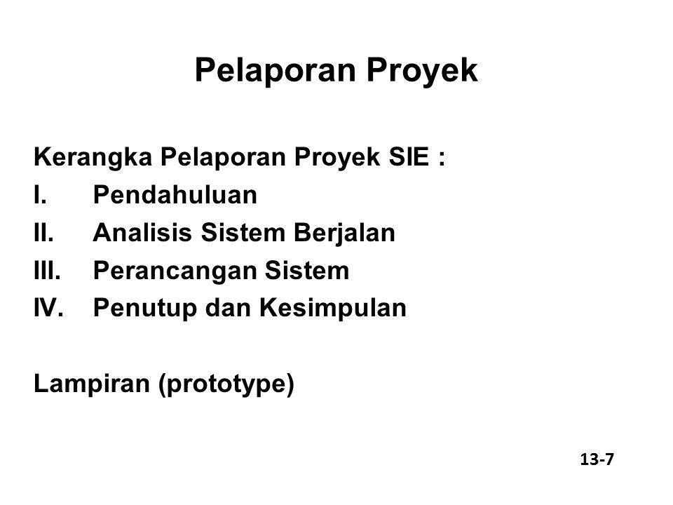 Pelaporan Proyek Kerangka Pelaporan Proyek SIE : I.Pendahuluan II.Analisis Sistem Berjalan III.Perancangan Sistem IV.Penutup dan Kesimpulan Lampiran (prototype) 13-7