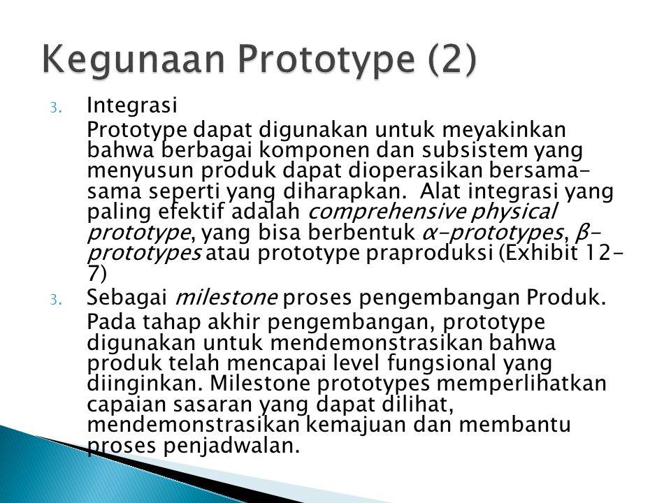 3. Integrasi Prototype dapat digunakan untuk meyakinkan bahwa berbagai komponen dan subsistem yang menyusun produk dapat dioperasikan bersama- sama se