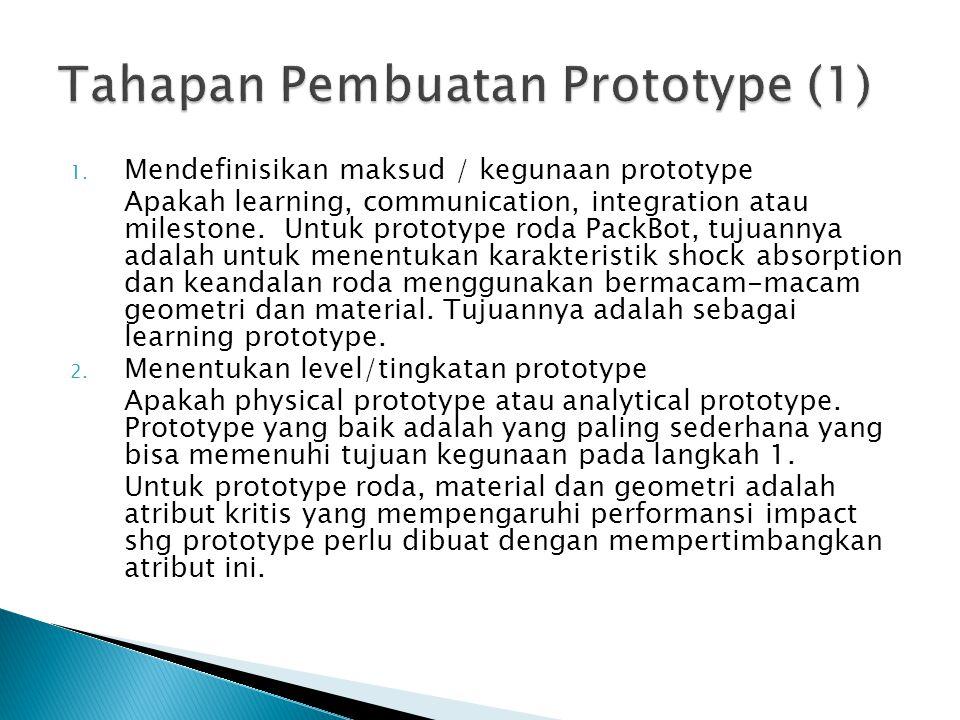 1. Mendefinisikan maksud / kegunaan prototype Apakah learning, communication, integration atau milestone. Untuk prototype roda PackBot, tujuannya adal