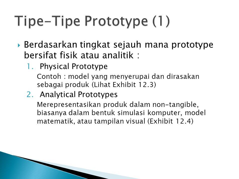  Berdasarkan tingkat sejauh mana prototype bersifat fisik atau analitik : 1.Physical Prototype Contoh : model yang menyerupai dan dirasakan sebagai p