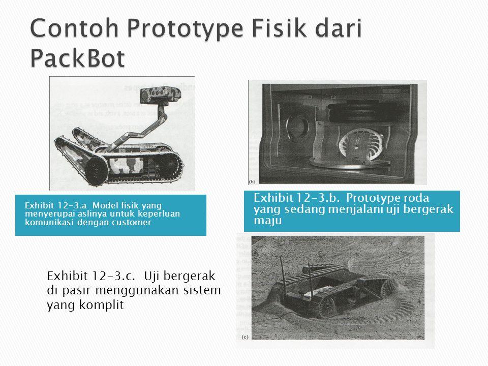 Exhibit 12-3.a Model fisik yang menyerupai aslinya untuk keperluan komunikasi dengan customer Exhibit 12-3.b. Prototype roda yang sedang menjalani uji
