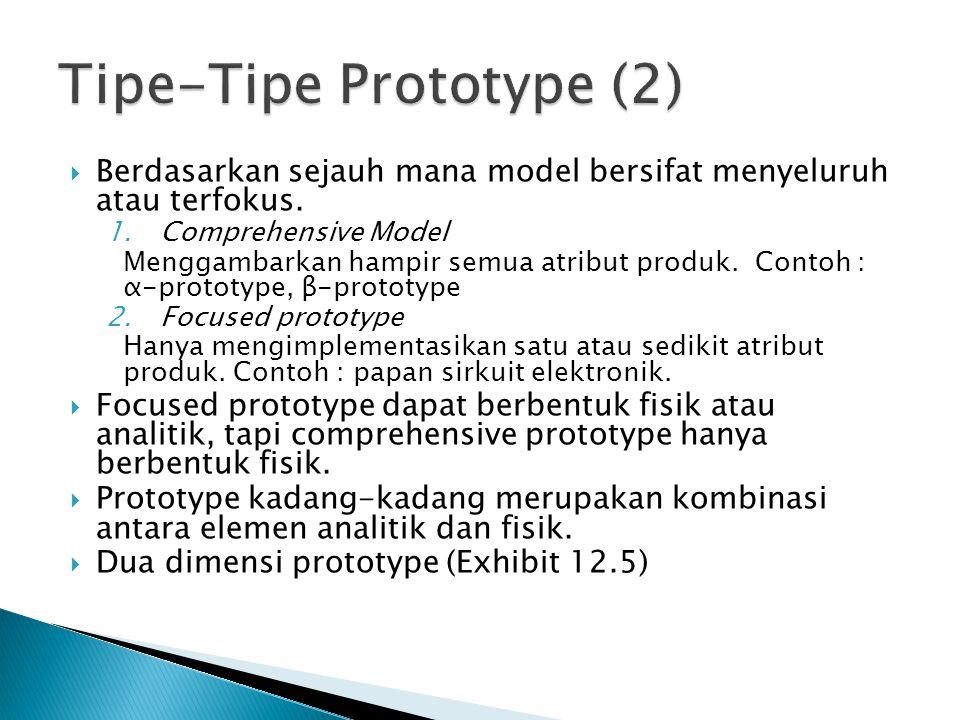  Berdasarkan sejauh mana model bersifat menyeluruh atau terfokus. 1.Comprehensive Model Menggambarkan hampir semua atribut produk. Contoh : α-prototy