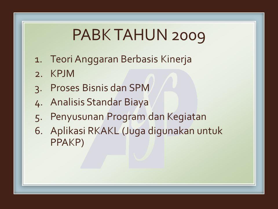 PABK TAHUN 2009 1.Teori Anggaran Berbasis Kinerja 2.KPJM 3.Proses Bisnis dan SPM 4.Analisis Standar Biaya 5.Penyusunan Program dan Kegiatan 6.Aplikasi