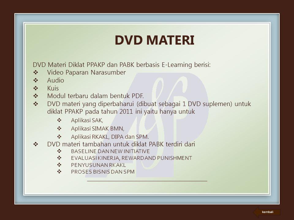 DVD Materi Diklat PPAKP dan PABK berbasis E-Learning berisi:  Video Paparan Narasumber  Audio  Kuis  Modul terbaru dalam bentuk PDF.  DVD materi