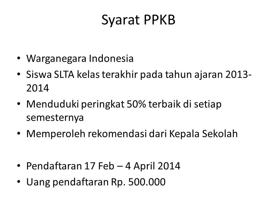 Syarat PPKB Warganegara Indonesia Siswa SLTA kelas terakhir pada tahun ajaran 2013- 2014 Menduduki peringkat 50% terbaik di setiap semesternya Mempero