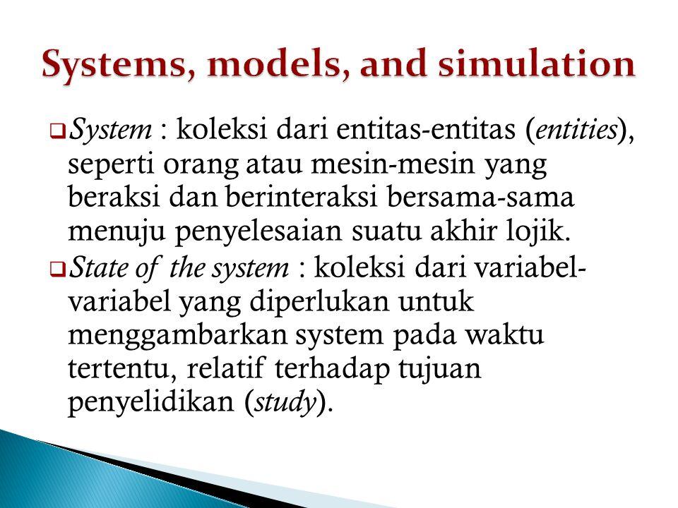  System : koleksi dari entitas-entitas ( entities ), seperti orang atau mesin-mesin yang beraksi dan berinteraksi bersama-sama menuju penyelesaian suatu akhir lojik.