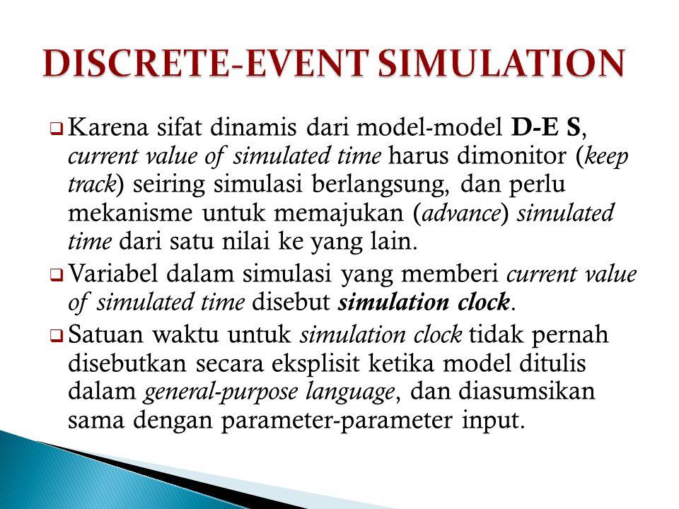  Karena sifat dinamis dari model-model D-E S, current value of simulated time harus dimonitor ( keep track ) seiring simulasi berlangsung, dan perlu mekanisme untuk memajukan ( advance ) simulated time dari satu nilai ke yang lain.