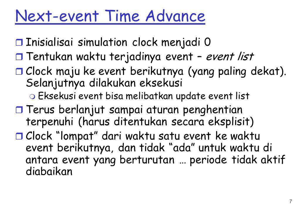 7 Next-event Time Advance r Inisialisai simulation clock menjadi 0 r Tentukan waktu terjadinya event – event list r Clock maju ke event berikutnya (yang paling dekat).