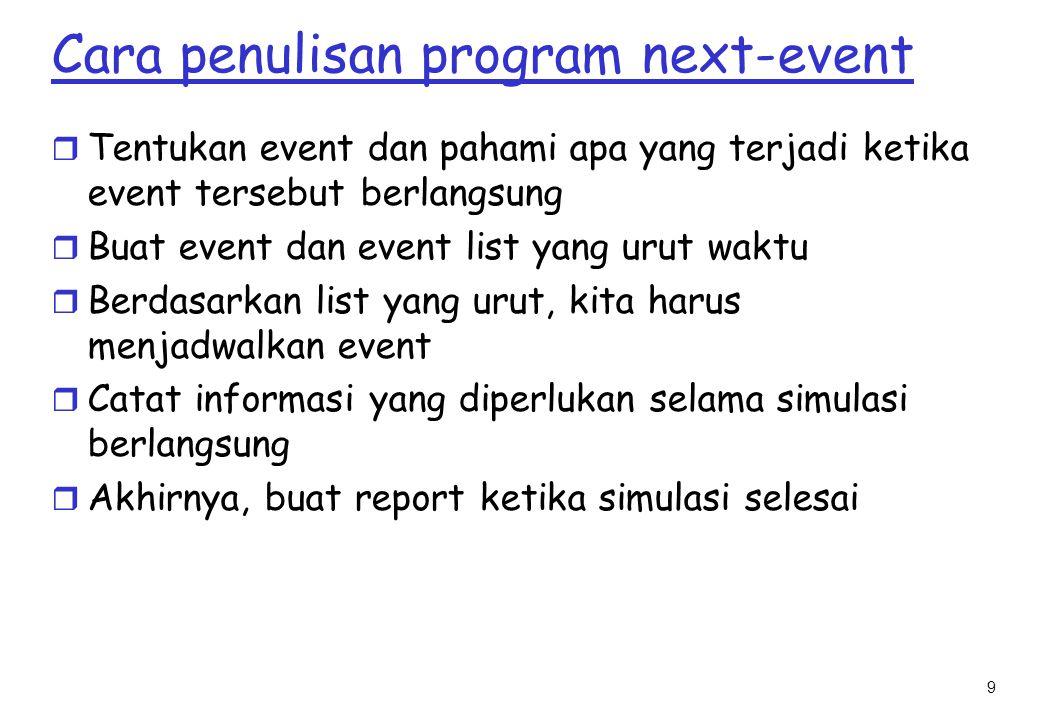 9 Cara penulisan program next-event r Tentukan event dan pahami apa yang terjadi ketika event tersebut berlangsung r Buat event dan event list yang urut waktu r Berdasarkan list yang urut, kita harus menjadwalkan event r Catat informasi yang diperlukan selama simulasi berlangsung r Akhirnya, buat report ketika simulasi selesai
