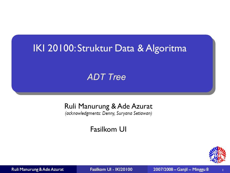 22 Ruli Manurung & Ade AzuratFasilkom UI - IKI20100 2007/2008 – Ganjil – Minggu 8 Traversing Trees: Inorder traversal Algorithm inOrder(v) inOrder(leftChild(v)) visit node v inOrder(rightChild(v))
