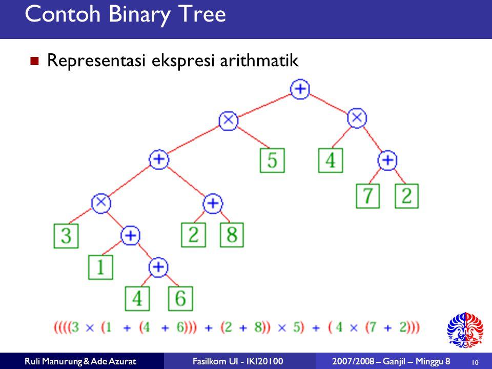 10 Ruli Manurung & Ade AzuratFasilkom UI - IKI20100 2007/2008 – Ganjil – Minggu 8 Contoh Binary Tree Representasi ekspresi arithmatik