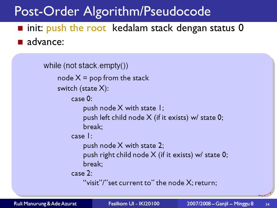 34 Ruli Manurung & Ade AzuratFasilkom UI - IKI20100 2007/2008 – Ganjil – Minggu 8 Post-Order Algorithm/Pseudocode init: push the root kedalam stack dengan status 0 advance: while (not stack.empty()) node X = pop from the stack switch (state X): case 0: push node X with state 1; push left child node X (if it exists) w/ state 0; break; case 1: push node X with state 2; push right child node X (if it exists) w/ state 0; break; case 2: visit / set current to the node X; return; while (not stack.empty()) node X = pop from the stack switch (state X): case 0: push node X with state 1; push left child node X (if it exists) w/ state 0; break; case 1: push node X with state 2; push right child node X (if it exists) w/ state 0; break; case 2: visit / set current to the node X; return;