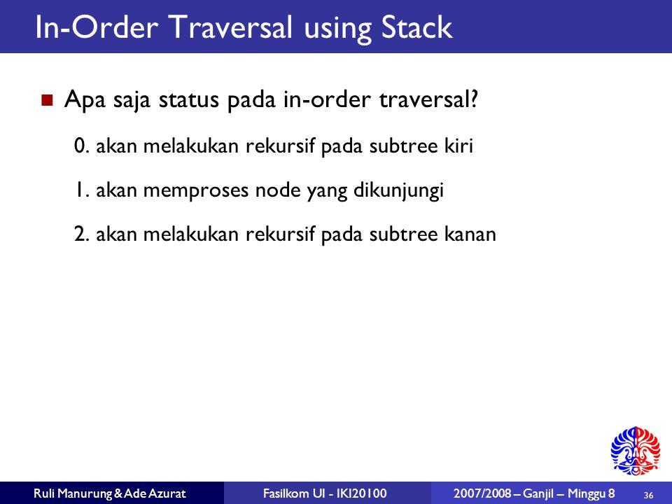 36 Ruli Manurung & Ade AzuratFasilkom UI - IKI20100 2007/2008 – Ganjil – Minggu 8 In-Order Traversal using Stack Apa saja status pada in-order traversal.