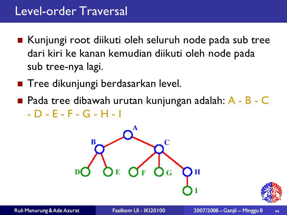 44 Ruli Manurung & Ade AzuratFasilkom UI - IKI20100 2007/2008 – Ganjil – Minggu 8 Level-order Traversal Kunjungi root diikuti oleh seluruh node pada sub tree dari kiri ke kanan kemudian diikuti oleh node pada sub tree-nya lagi.