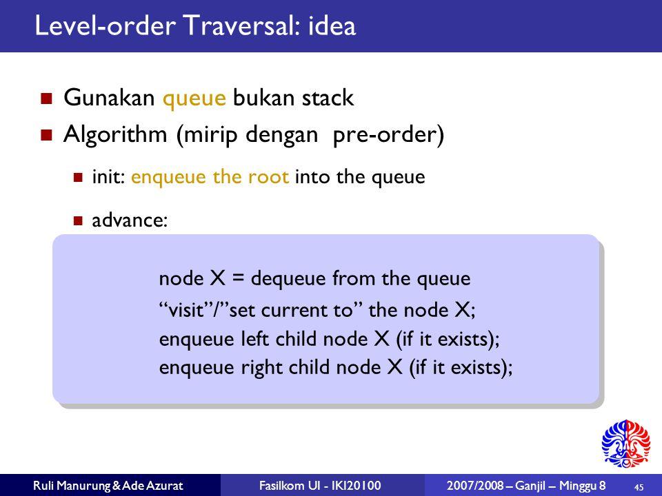 45 Ruli Manurung & Ade AzuratFasilkom UI - IKI20100 2007/2008 – Ganjil – Minggu 8 Level-order Traversal: idea Gunakan queue bukan stack Algorithm (mirip dengan pre-order)  init: enqueue the root into the queue advance: node X = dequeue from the queue visit / set current to the node X; enqueue left child node X (if it exists); enqueue right child node X (if it exists); node X = dequeue from the queue visit / set current to the node X; enqueue left child node X (if it exists); enqueue right child node X (if it exists);