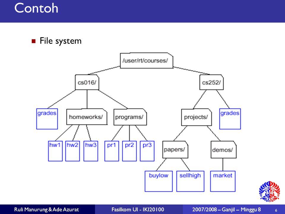 17 Ruli Manurung & Ade AzuratFasilkom UI - IKI20100 2007/2008 – Ganjil – Minggu 8 Algoritma pada Binary Tree Struktur data tree di definisikan / dilihat secara rekursif: sebuah binary tree terdiri dari sebuah node dengan dua buah sub tree (kiri dan kanan) yang masing-masing adalah tree juga.