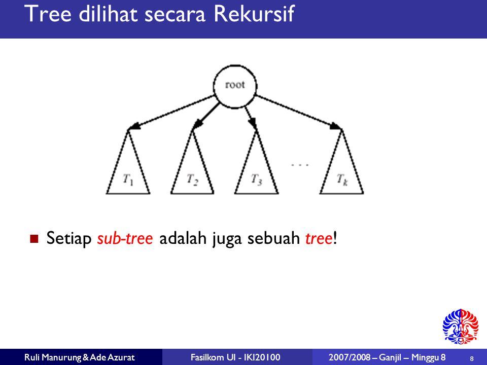 19 Ruli Manurung & Ade AzuratFasilkom UI - IKI20100 2007/2008 – Ganjil – Minggu 8 Print Pre-Order class BinaryNode { void printPreOrder( ) { System.out.println( element ); // Node if( left != null ) left.printPreOrder( ); // Left if( right != null ) right.printPreOrder( ); // Right } class BinaryTree { public void printPreOrder( ) { if( root != null ) root.printPreOrder( ); } class BinaryNode { void printPreOrder( ) { System.out.println( element ); // Node if( left != null ) left.printPreOrder( ); // Left if( right != null ) right.printPreOrder( ); // Right } class BinaryTree { public void printPreOrder( ) { if( root != null ) root.printPreOrder( ); }
