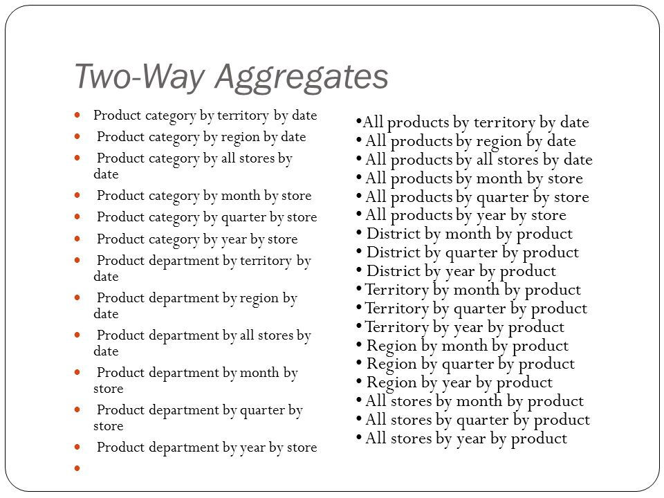 Two-Way Aggregates Product category by territory by date Product category by region by date Product category by all stores by date Product category by