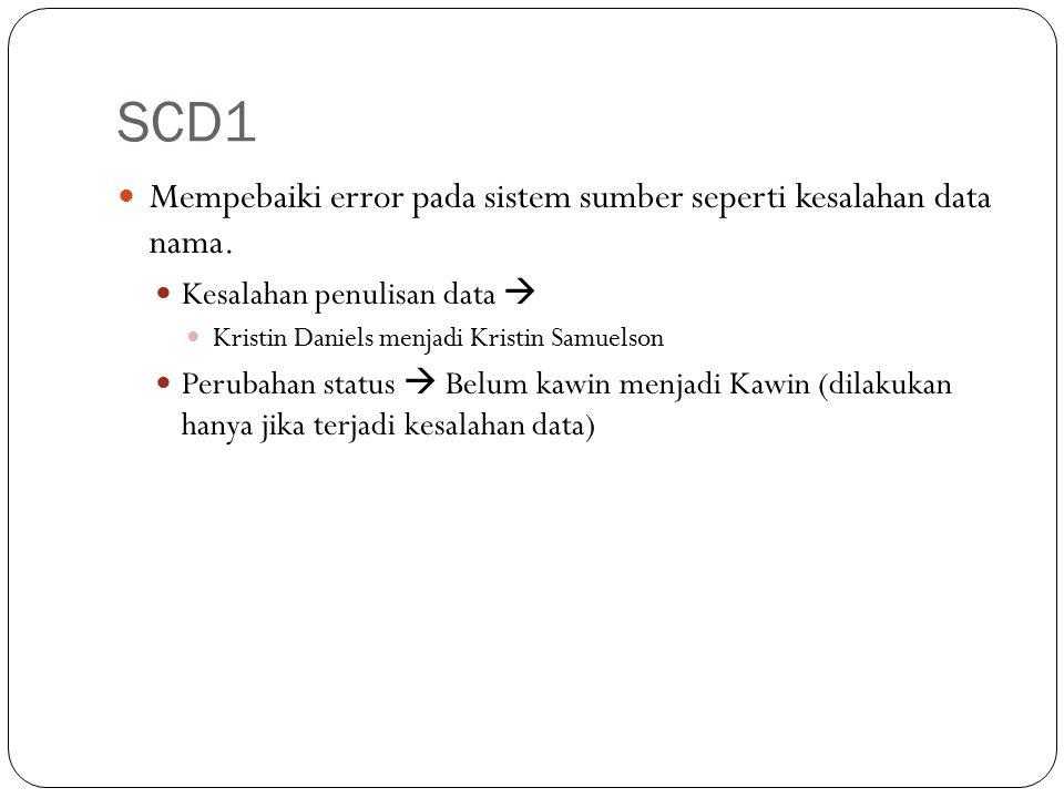 SCD1 Mempebaiki error pada sistem sumber seperti kesalahan data nama. Kesalahan penulisan data  Kristin Daniels menjadi Kristin Samuelson Perubahan s