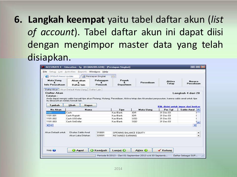 6.Langkah keempat yaitu tabel daftar akun (list of account).