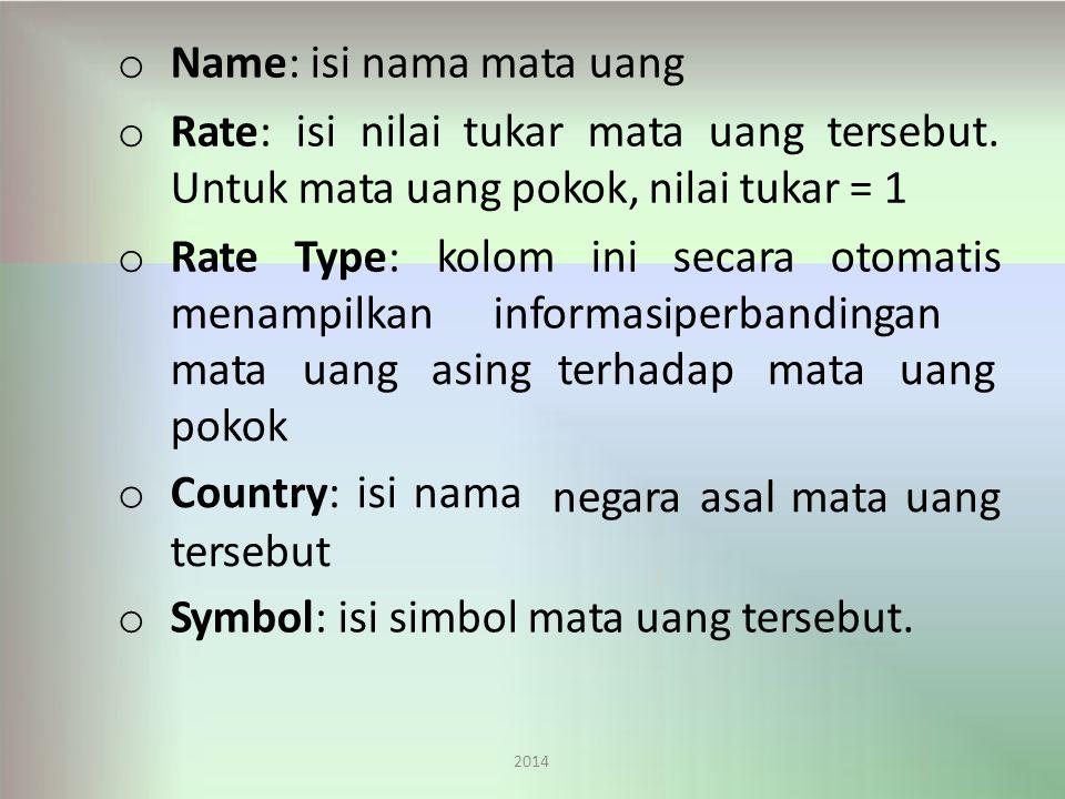 o Name: isi nama mata uang o Rate:isinilaitukarmatauangtersebut.