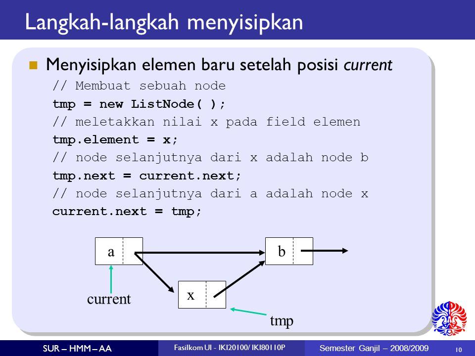 10 SUR – HMM – AA Fasilkom UI - IKI20100/ IKI80110P Semester Ganjil – 2008/2009 Langkah-langkah menyisipkan Menyisipkan elemen baru setelah posisi cur