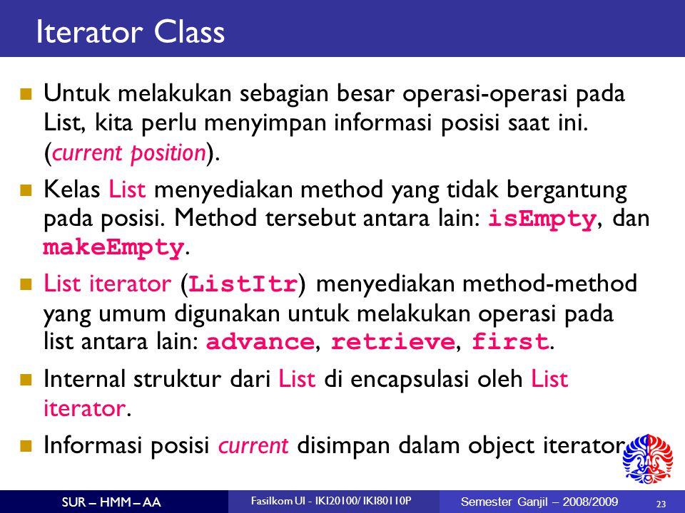 23 SUR – HMM – AA Fasilkom UI - IKI20100/ IKI80110P Semester Ganjil – 2008/2009 Iterator Class Untuk melakukan sebagian besar operasi-operasi pada Lis