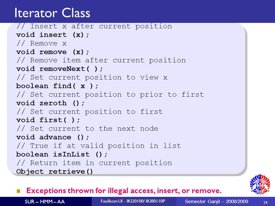 24 SUR – HMM – AA Fasilkom UI - IKI20100/ IKI80110P Semester Ganjil – 2008/2009 Iterator Class // Insert x after current position void insert (x); //