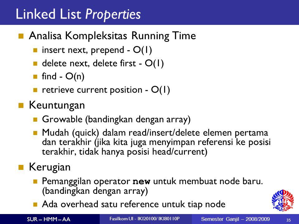35 SUR – HMM – AA Fasilkom UI - IKI20100/ IKI80110P Semester Ganjil – 2008/2009 Linked List Properties Analisa Kompleksitas Running Time insert next,
