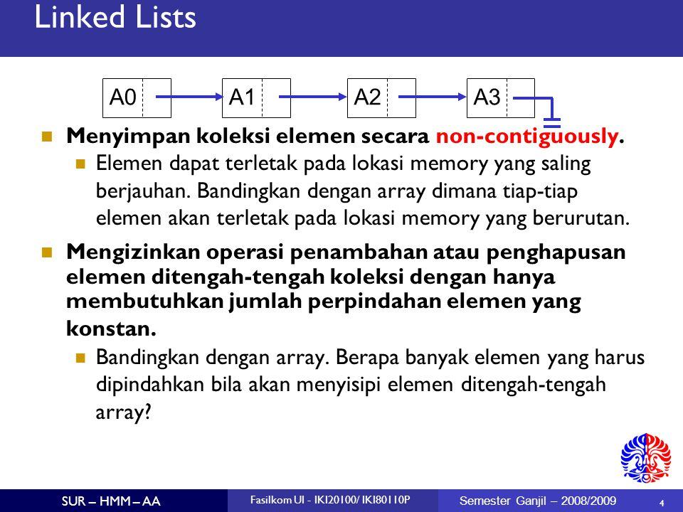 35 SUR – HMM – AA Fasilkom UI - IKI20100/ IKI80110P Semester Ganjil – 2008/2009 Linked List Properties Analisa Kompleksitas Running Time insert next, prepend - O(1)  delete next, delete first - O(1)  find - O(n)  retrieve current position - O(1)  Keuntungan Growable (bandingkan dengan array)  Mudah (quick) dalam read/insert/delete elemen pertama dan terakhir (jika kita juga menyimpan referensi ke posisi terakhir, tidak hanya posisi head/current)  Kerugian Pemanggilan operator new untuk membuat node baru.