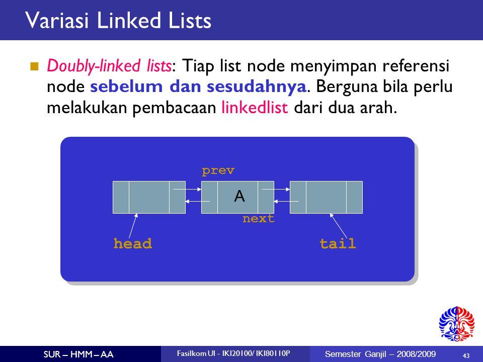 43 SUR – HMM – AA Fasilkom UI - IKI20100/ IKI80110P Semester Ganjil – 2008/2009 Doubly-linked lists: Tiap list node menyimpan referensi node sebelum d