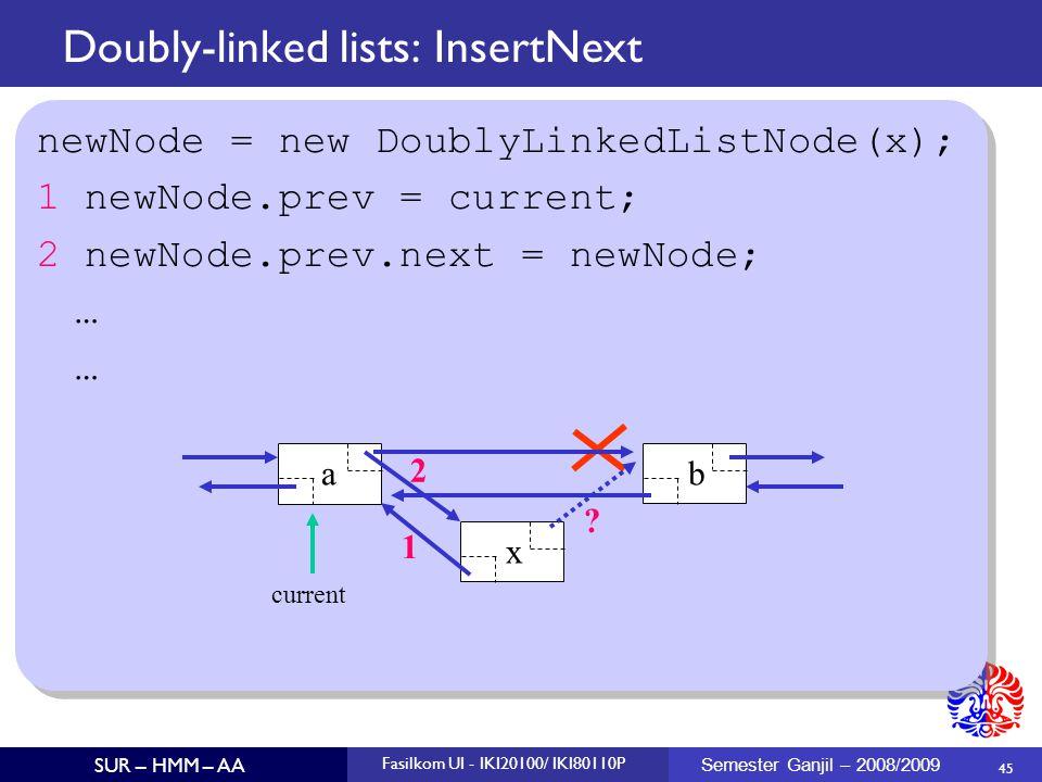 45 SUR – HMM – AA Fasilkom UI - IKI20100/ IKI80110P Semester Ganjil – 2008/2009 Doubly-linked lists: InsertNext newNode = new DoublyLinkedListNode(x);