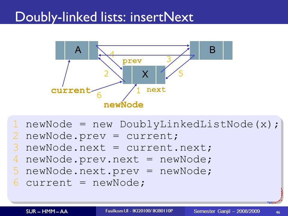 46 SUR – HMM – AA Fasilkom UI - IKI20100/ IKI80110P Semester Ganjil – 2008/2009 Doubly-linked lists: insertNext 1 newNode = new DoublyLinkedListNode(x