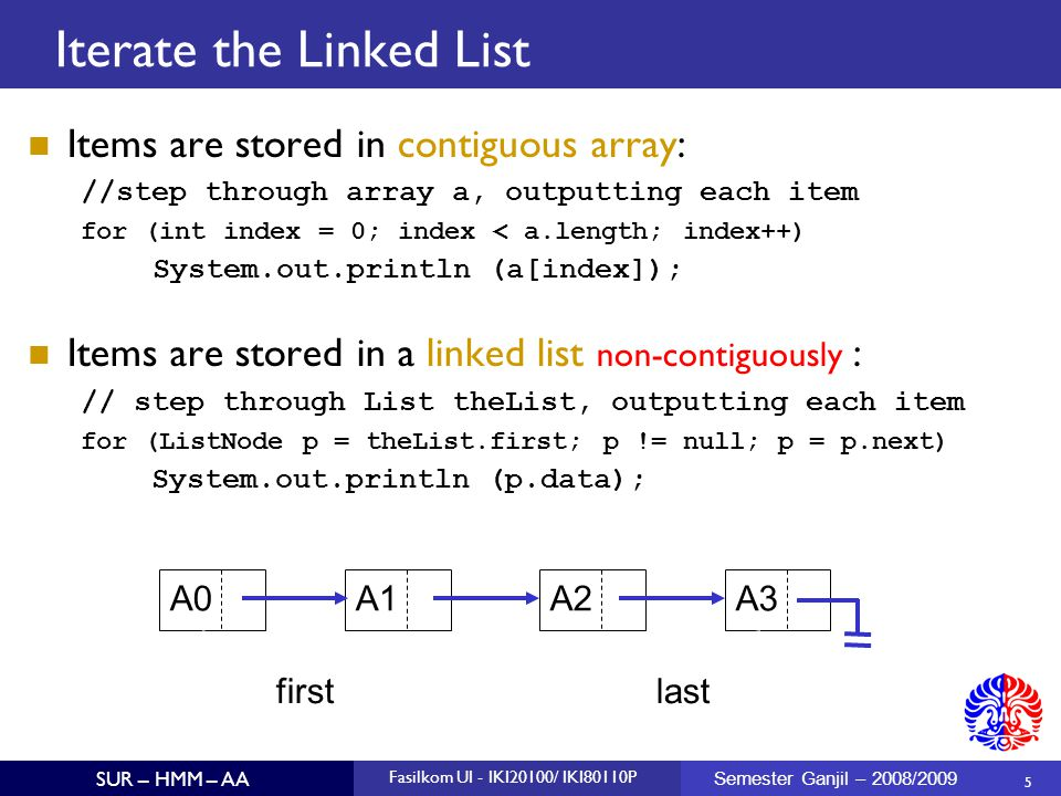 5 SUR – HMM – AA Fasilkom UI - IKI20100/ IKI80110P Semester Ganjil – 2008/2009 Iterate the Linked List Items are stored in contiguous array: //step th