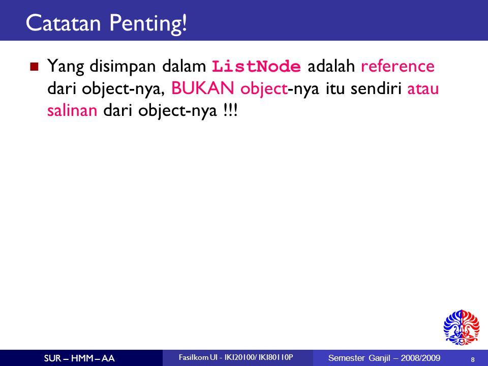 8 SUR – HMM – AA Fasilkom UI - IKI20100/ IKI80110P Semester Ganjil – 2008/2009 Catatan Penting! Yang disimpan dalam ListNode adalah reference dari obj