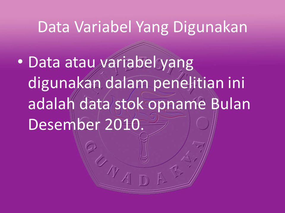 Data atau variabel yang digunakan dalam penelitian ini adalah data stok opname Bulan Desember 2010.