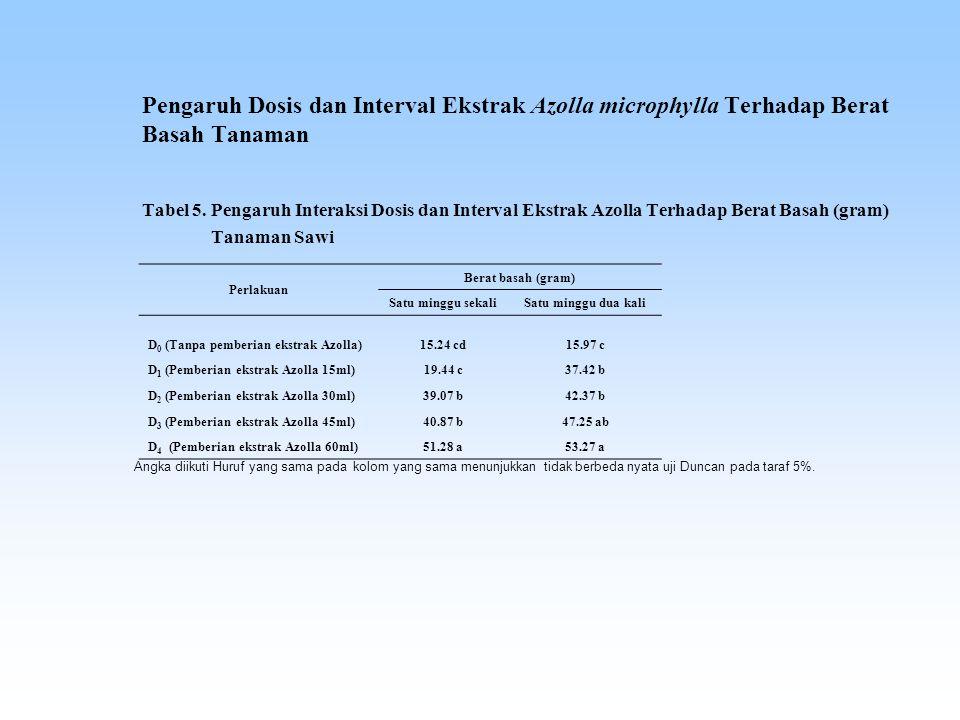 Pengaruh Dosis dan Interval Ekstrak Azolla microphylla Terhadap Berat Basah Tanaman Tabel 5.