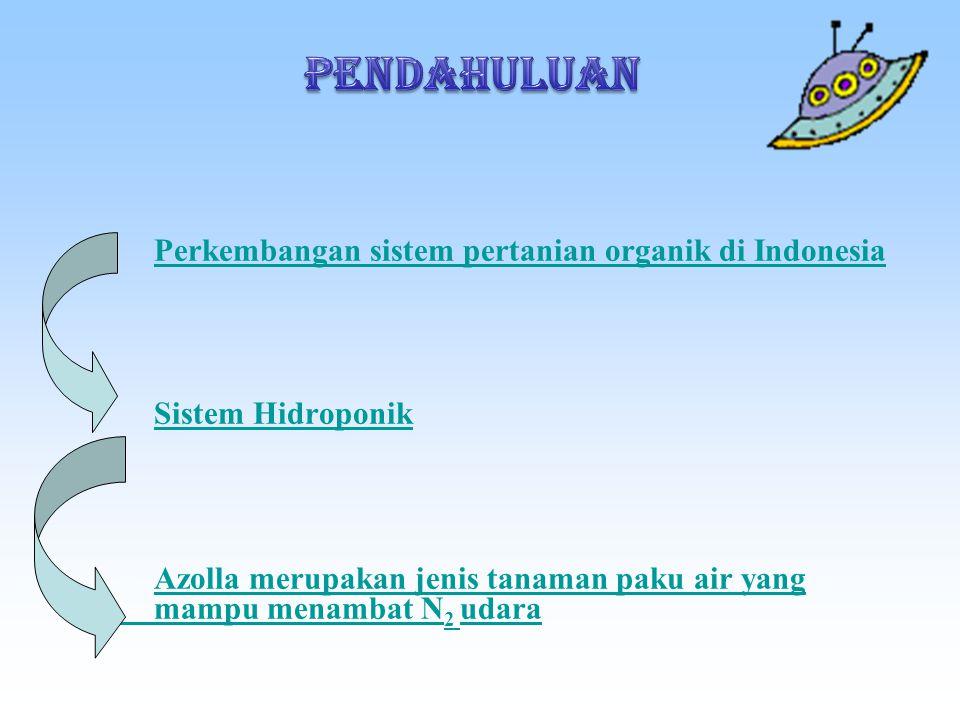 Perkembangan sistem pertanian organik di Indonesia Sistem Hidroponik Azolla merupakan jenis tanaman paku air yang mampu menambat N 2 udara