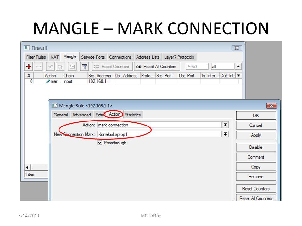 IMPLEMENTASI MANGLE – DST NAT Hanya Koneksi dari Router2 yang boleh akses ke laptop1 3/14/2011MikroLine
