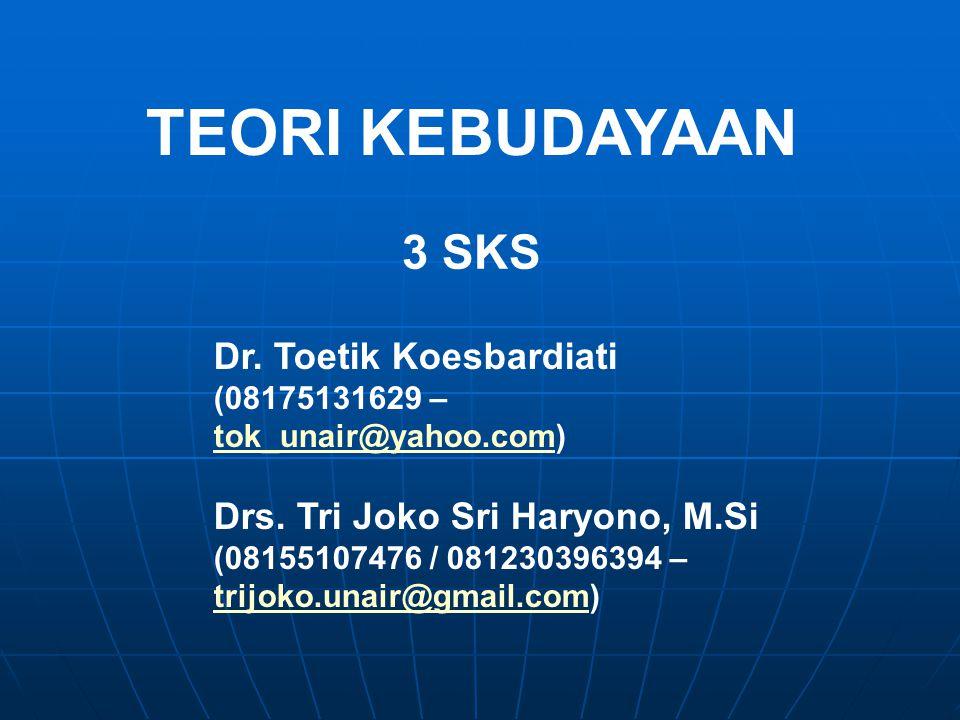 TEORI KEBUDAYAAN 3 SKS Dr. Toetik Koesbardiati (08175131629 – tok_unair@yahoo.comtok_unair@yahoo.com) Drs. Tri Joko Sri Haryono, M.Si (08155107476 / 0