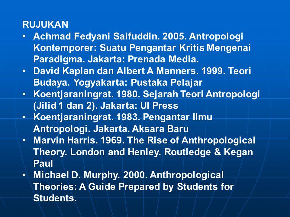 RUJUKAN Achmad Fedyani Saifuddin. 2005. Antropologi Kontemporer: Suatu Pengantar Kritis Mengenai Paradigma. Jakarta: Prenada Media. David Kaplan dan A