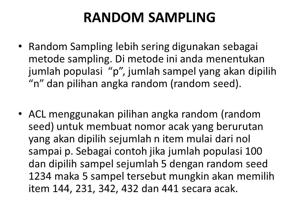 CELL SAMPLING (RANDOM INTERVAL SAMPLING) Cell Sampling, adalah metode sampling yang memilih secara acak di antara tiap interval. Jika anda menentukan