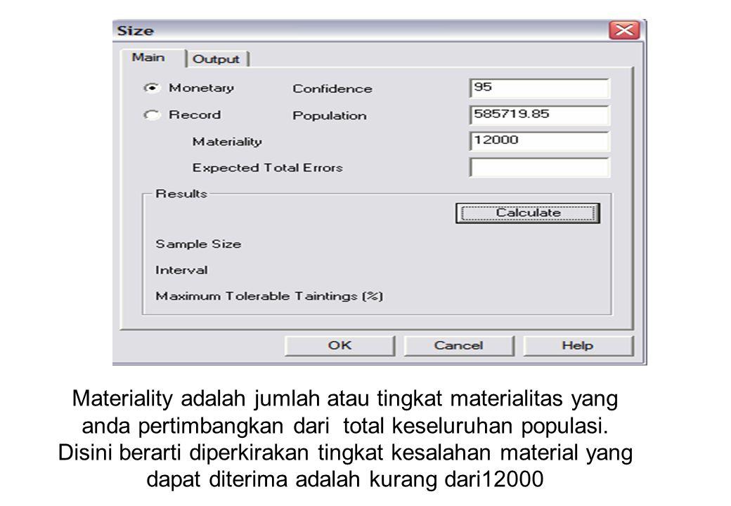 Sample Size Contoh akan ditentukan sample size field amount dari file ar. Lakukan perintah statistik terhadap field amount Total amount Jumlah record
