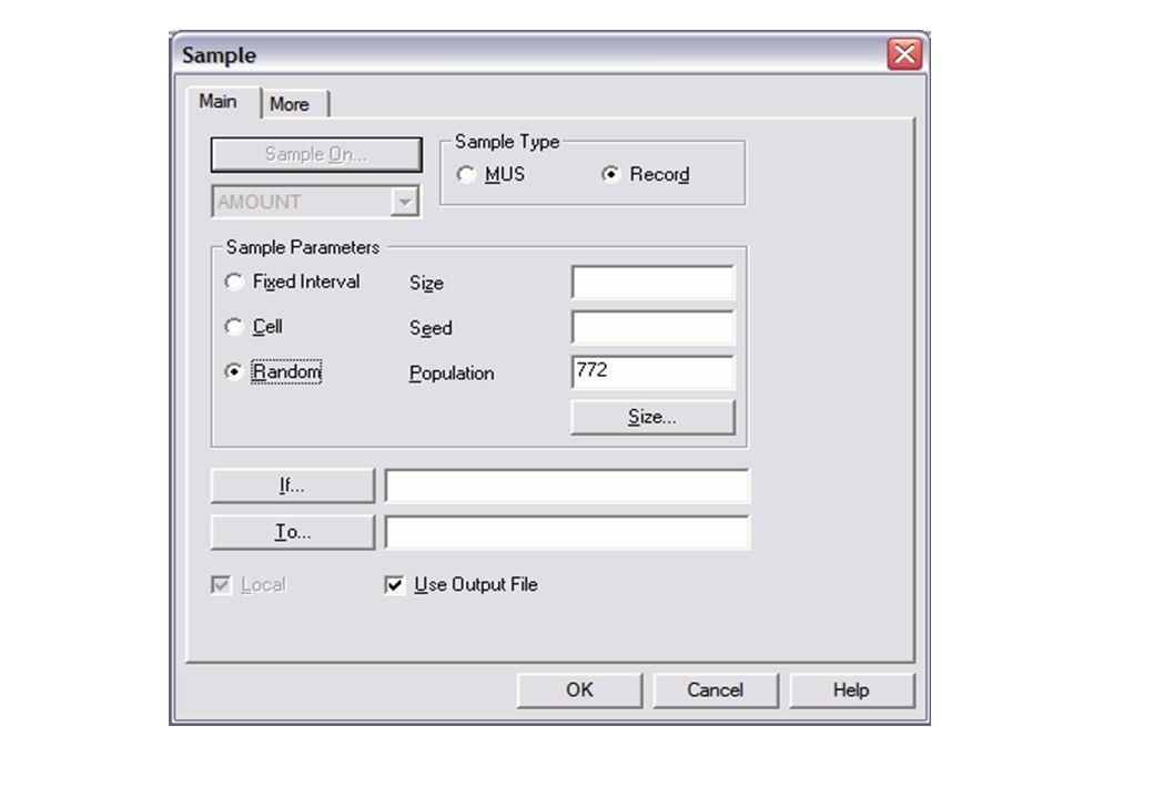 Record Sampling Untuk melakukan sampling dengan berdasarkan record dari suatu file, langkahnya adalah sebagai berikut: 1.Bukalah Project, kemudian inp