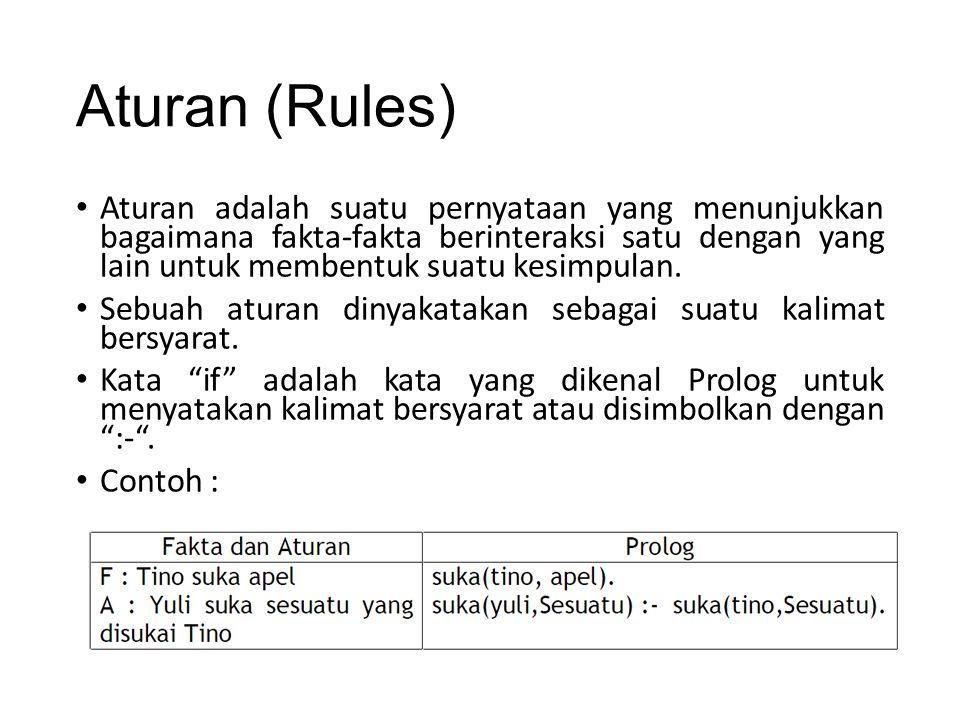 Aturan (Rules) Aturan adalah suatu pernyataan yang menunjukkan bagaimana fakta-fakta berinteraksi satu dengan yang lain untuk membentuk suatu kesimpul