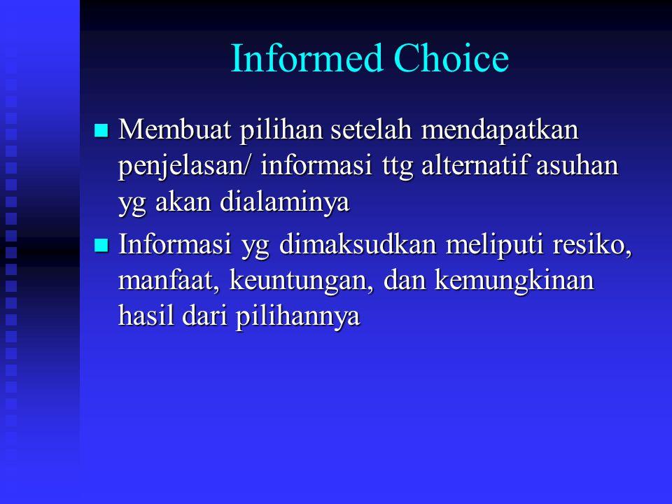 Informed Choice Membuat pilihan setelah mendapatkan penjelasan/ informasi ttg alternatif asuhan yg akan dialaminya Membuat pilihan setelah mendapatkan penjelasan/ informasi ttg alternatif asuhan yg akan dialaminya Informasi yg dimaksudkan meliputi resiko, manfaat, keuntungan, dan kemungkinan hasil dari pilihannya Informasi yg dimaksudkan meliputi resiko, manfaat, keuntungan, dan kemungkinan hasil dari pilihannya